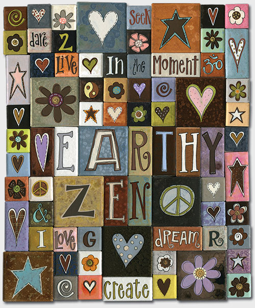 Assorted handpainted tile magnets from our Zen fridge magnet Collection