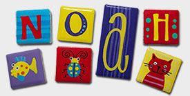 """Noah"" ... Bright ""Create your Own"" order of handpainted eachanoriginal fridge magnets"