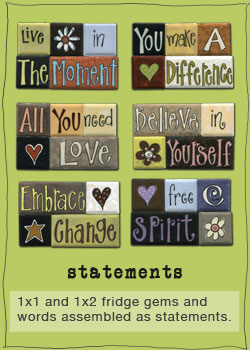 Zen Statements- handpainted word and image fridge magnets from eachanoriginal design company