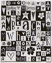 Black & White Catalogue cover for eachanoriginal handpainted fridge magnets