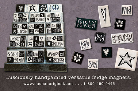 eachanoriginal fall 2014 ad for handpainted fridge magnets