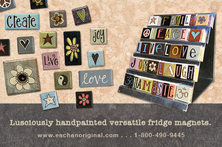 eachanoriginal spring 2014 ad for handpainted fridge magnets