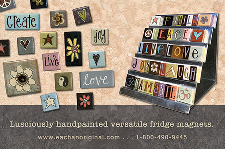 eachanoriginal spring 2015 ad for handpainted fridge magnets