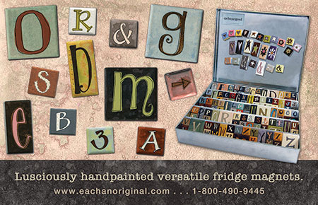 eachanoriginal spring 2016 ad for handpainted fridge magnets