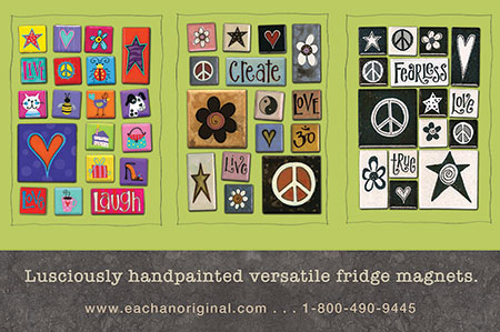 eachanoriginal summer 2015 ad for handpainted fridge magnets