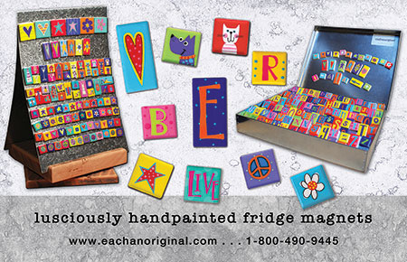 eachanoriginal summer 2016 ad for handpainted fridge magnets