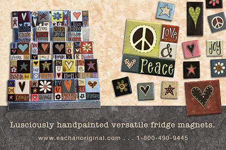 eachanoriginal winter 2015 ad for handpainted fridge magnets
